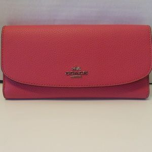 Coach Bags - New Coach Pebbled Leather Wallet F16613 in Majenta